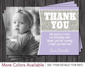Purple and Silver Birthday Thank You Card - First Birthday Thank You Cards
