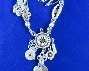 """BOHO CHARMS NECKLACE Beads, Shells, Stones Silver Tone, 14"""" Long (#545)"""