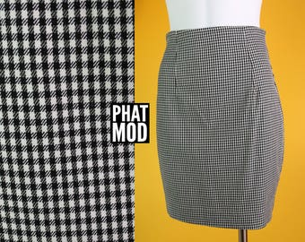 Vintage 90s Black & White Plaid Pencil Skirt