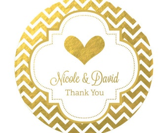 Gold Foil Stickers - Silver Foil Labels Personalized Round Gold Stickers  Gold Bridal Shower Favor Labels