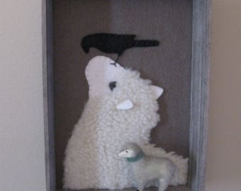 Wool Applique Sheep Framed...... Good Morning Mr. Crow 5 x 7