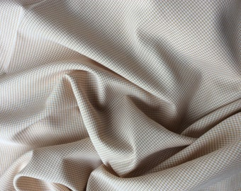 Cotton poplin fabric, beige check weave