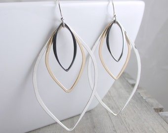 Silver and Gold Earrings Geometric Jewelry Long Dangle Earrings Boho Earrings Mixed Metal Earring Silver Earrings Gift For Women Jewelry