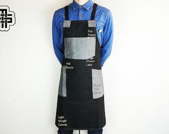 Chef Apron, Restaurant Apron, Waiter Apron, Hostess Gift, Personalized Apron, Custom Apron, Mens Apron, Raw Denim Apron, Husband Gift