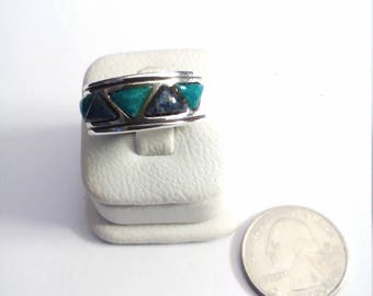Vintage Sterling Silver Inlaid Turquoise Ring, size 8 1/4