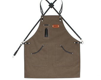 Leather Apron, Olive Green Canvas with Dark Brown Leather Strap Apron by KustomDuo