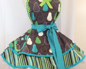 Retro Apron, Pears Galore Pin Up Apron, Woman's Apron, Kitchen and Hostess Apron - Ready To ship