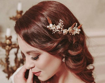 Gold bridal hair comb, bridal pearl hair comb, gold bridal hair accessories, floral bridal hair comb