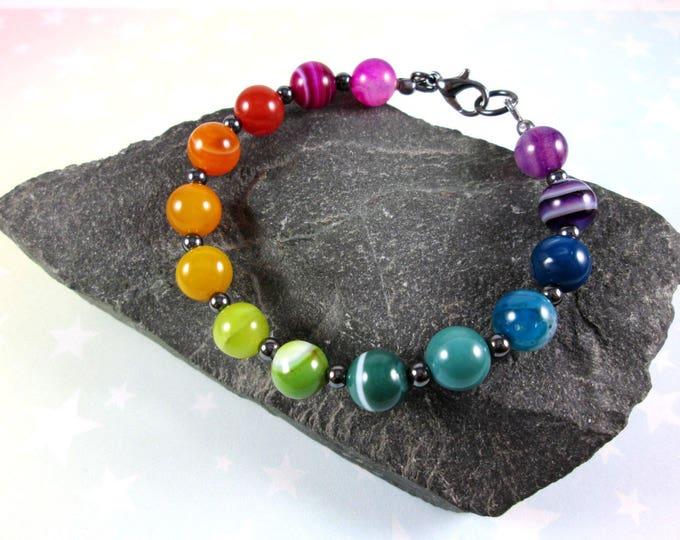 Rainbow Agate Bracelet - Pride - LGBT - Rainbow Gradient - Hematite & Gunmetal