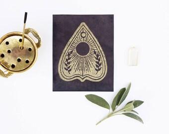 Golden, PLANCHETTE print, Linocut Print, Color Change Print, Linocut Card, Linocut Block Print, Art Prints, Occult