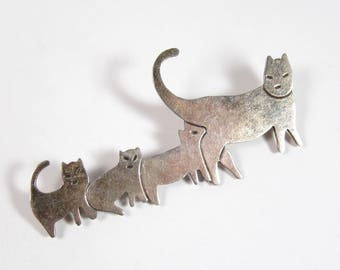 Vintage Sterling Silver Taxco Mexico Cat Family Feline Kittens Kitty Brooch Pin