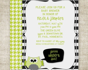 OWL BABY SHOWER Invitations Guess Who's Due Gender Neutral Digital Printable Personalized Green - 89906572