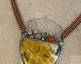 Ocean Jasper, Jasper Necklace, Amber, Gemstone Necklace, Copper, Sterling Silver, Oxidized, Artisan Necklace, Art Jewelry, Pendant Necklace