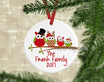Owl Family Ornament • Personalized • Family