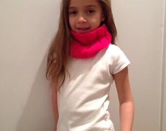 Hot Pink Neckwarmer, Cowl, Hand Knit