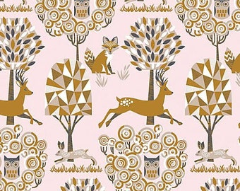 Natural Wonder Fabric by Josephine Kimberling for Blend Fabrics Enchanted Forest Woodland Animals on Light Pink