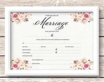 Printable wedding Marriage Certificate, 14x11 blank certificate, floral certificate wedding gift, anniversary gift wedding decor - PF-18