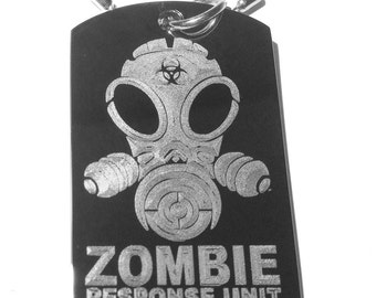 Zombie Response Team Unit Alien Face Gas Mask Biohazard Logo Symbol - Military Dog Tag Luggage Tag Key Chain Metal Necklace ALIEN ZOMBIE