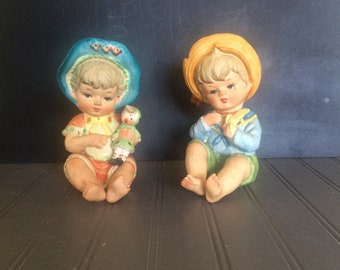 Vintage Lipper and Mann Piano Babies Ceramic Child Figurines Ceramic Girl with Doll Ceramic Boy with Banana