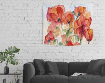 Poppy Field watercolor print of Tangerine Salmon Orange poppies  Watercolor Giclee  bold 18x24 giclee print