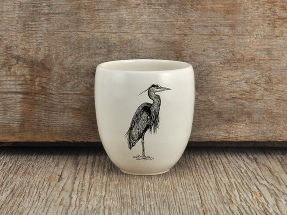 Handmade Porcelain coffee tumbler with Great blue heron drawing Canadian Wildlife collection