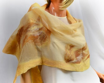 Beige silk scarf, felted silk bolero, cape, dresses, wedding Beige,