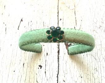 Green Adjustable Narrow Cuff with Green Rhinestones
