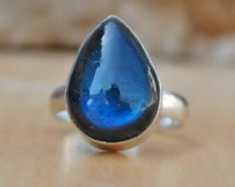 Labradorite Ring, Natural Blue Labradorite sterling silver ring, Labradorite Solid silver ring Jewelry