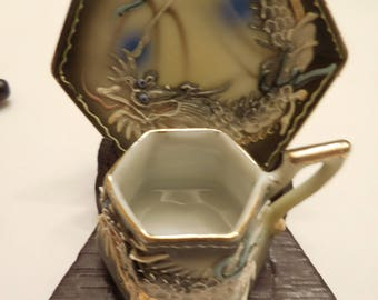 Miniature Japanese Moriage Dragon Tea Cup & Saucer