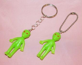Glow in the Dark Alien Keychain or Ball Chain // Alien Toy Key Chain for Keys and Backpacks // Handmade Red Eyed Alien Key Chain