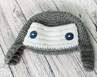 Crochet Trapper Hat for Baby Boy Newborn Photos. Easter Basket Stuffers for Boys, Aviator Baby Hat, Trapper Hat Baby, Winter Hats for Boys