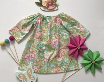 00- Girls Long Sleeved Dress- Pink Green Hearts