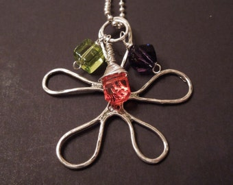 Blooming Flower Necklace with HillTribe Silver Flower, and 3 wire wrapped crystal and glass charms.