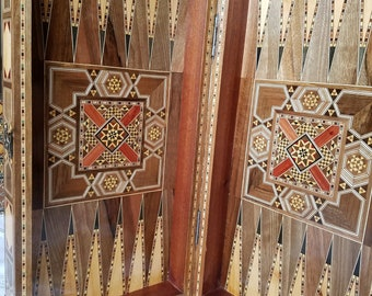Elegant Backgammon/ Checkers/Chessboard  With Mosaic Woodwork -made of walnut,almonds,roses, lemon, olive  .