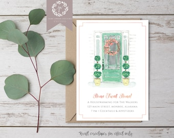 House Warming Invitation | Moving Announcement | Housewarming Party | Printable or Printed | Front Door | We've Moved | Home Sweet Home