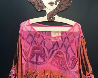 100% silk Zandra Rhodes multicoloured print kaftan - size M