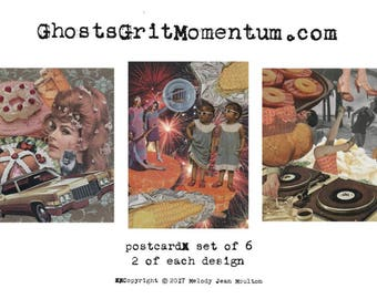 Postcard Set of 6 - 3 Handmade Collage Designs - Art Cards