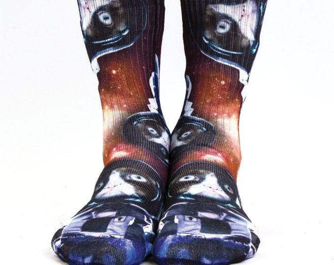 Samson® Astro Cat Hand Printed Socks Animal Galaxy Stars Cosmos Sublimation Quality Print UK