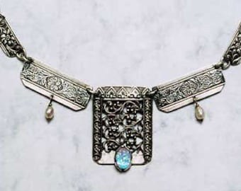 Yemen Jewelry.Yemen Silver.Yemen Necklace.Antique Style Yemeni Necklace.Israeli Jewellery.Ethnic Filigree Silver & Blue Opal.FREE SHIPPING!