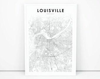 Louisville map etsy louisville map print kentucky ky usa map art poster city street road map print publicscrutiny Images