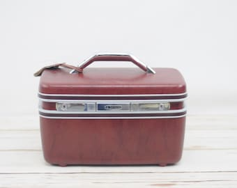 Vintage 1970s  Suitcase American Tourister Luggage Dark Red Color Makeup Case