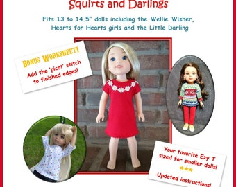 "Ezy T Squirts and Darlings  t-shirt pattern for 13 to 14.5"" dolls such as the Wellie Wisher, H4H, Little Darling and Les Cheries"