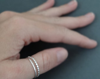 Thumb Ring set of 2 sterling silver hammered stacking rings Beaded Wire Ring and one hammered ring