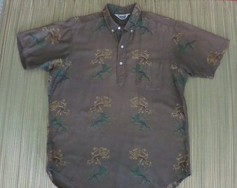 Vintage Hawaiian Shirt 50s PENNEY'S Young Gentry Imperial Lions Mens - L - Oahu Lew's Shirt Shack