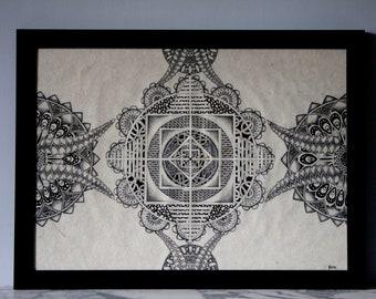 Dessin, Mandala, Original, Stylo, Crayon, Papier Népalais, 50 cm x 70 cm