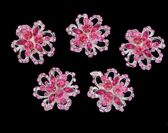 5 Pink Rhinestone Flat Back Embellishment  - Rhinestone Button - Flat back Button  - Fuschia - Wedding - Christmas - Holiday - DIY - RD82