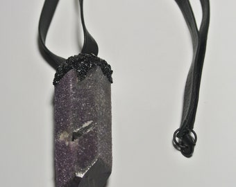 Purple quartz encrusted with black tourmaline statment necklace on genuine leather