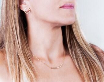 Dainty Gold Earrings, Gold Stud Earrings, Gold Circle Earrings, Open Circle Stud Earrings, Delicate Earrings, Minimal Earrings, Small Studs