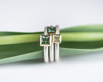 Cocktail ring TOURMALINE green, kl. ; Silver and 18 kt yellow gold