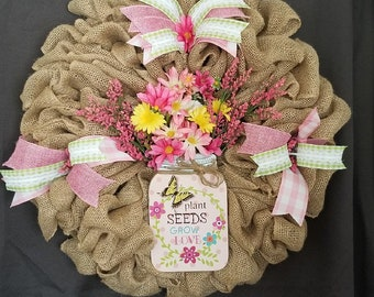 Pink and Green Burlap Spring Wreath